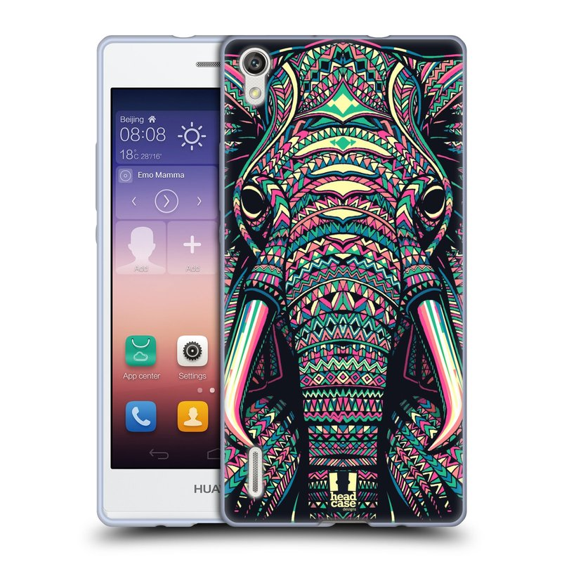 Silikonové pouzdro na mobil Huawei P7 HEAD CASE AZTEC SLON (Silikonový kryt či obal na mobilní telefon Huawei Ascend P7)