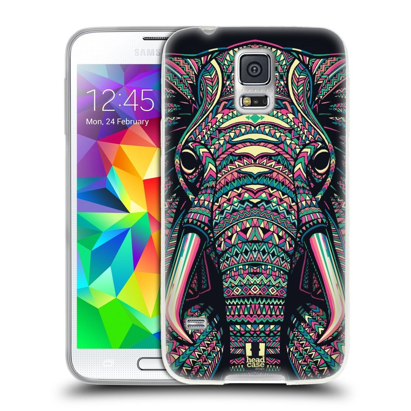 Silikonové pouzdro na mobil Samsung Galaxy S5 HEAD CASE AZTEC SLON (Silikonový kryt či obal na mobilní telefon Samsung Galaxy S5 SM-G900F)