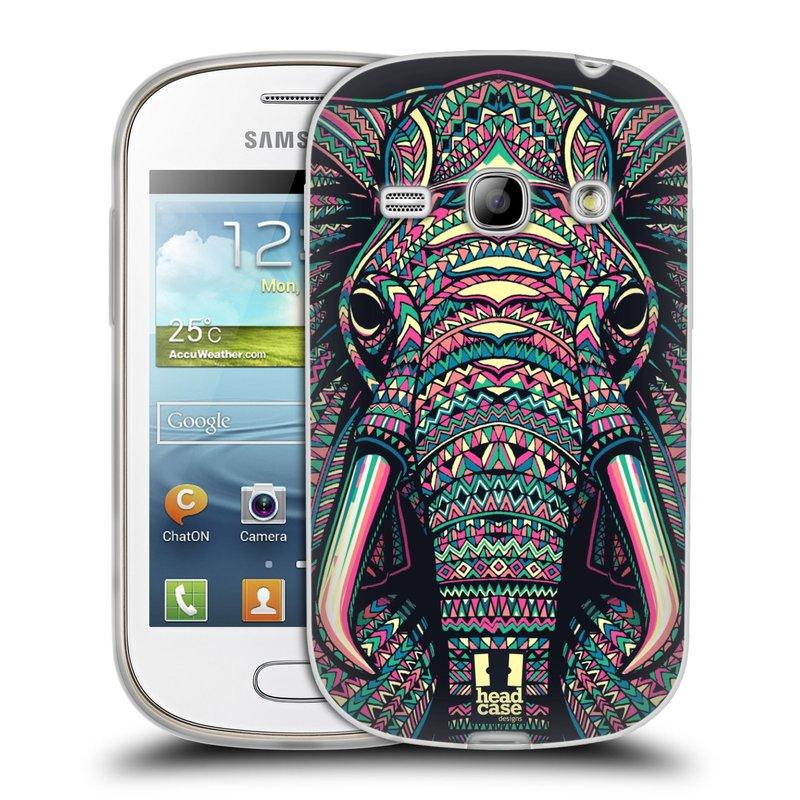 Silikonové pouzdro na mobil Samsung Galaxy Fame HEAD CASE AZTEC SLON (Silikonový kryt či obal na mobilní telefon Samsung Galaxy Fame GT-S6810)
