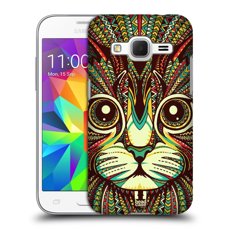 Plastové pouzdro na mobil Samsung Galaxy Core Prime LTE HEAD CASE AZTEC KOČKA (Kryt či obal na mobilní telefon Samsung Galaxy Core Prime LTE SM-G360)
