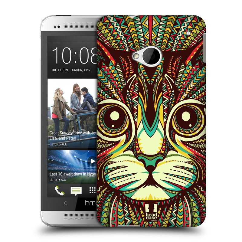 Plastové pouzdro na mobil HTC ONE M7 HEAD CASE AZTEC KOČKA (Kryt či obal na mobilní telefon HTC ONE M7)