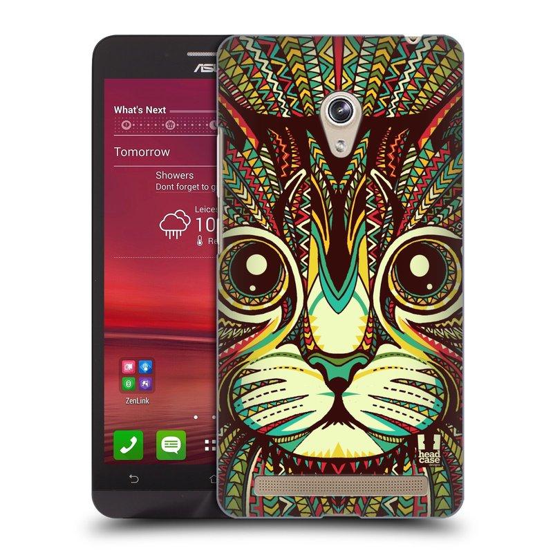 Plastové pouzdro na mobil Asus Zenfone 6 HEAD CASE AZTEC KOČKA (Kryt či obal na mobilní telefon Asus Zenfone 6 A600CG / A601CG)