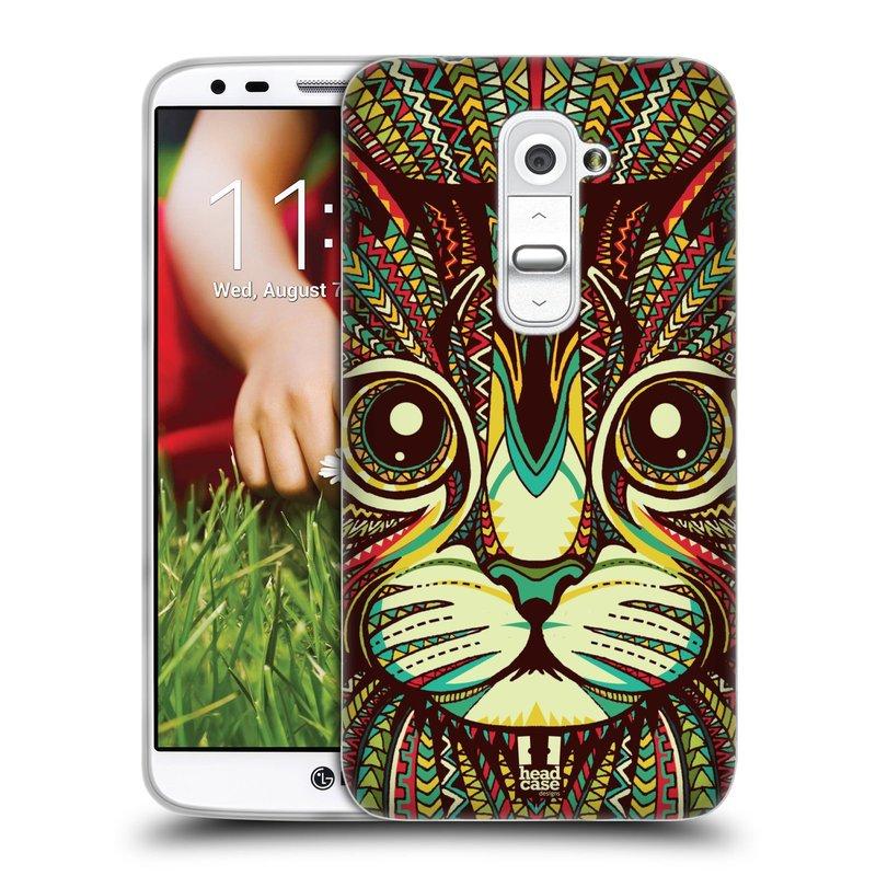 Silikonové pouzdro na mobil LG G2 HEAD CASE AZTEC KOČKA (Silikonový kryt či obal na mobilní telefon LG G2 D802)