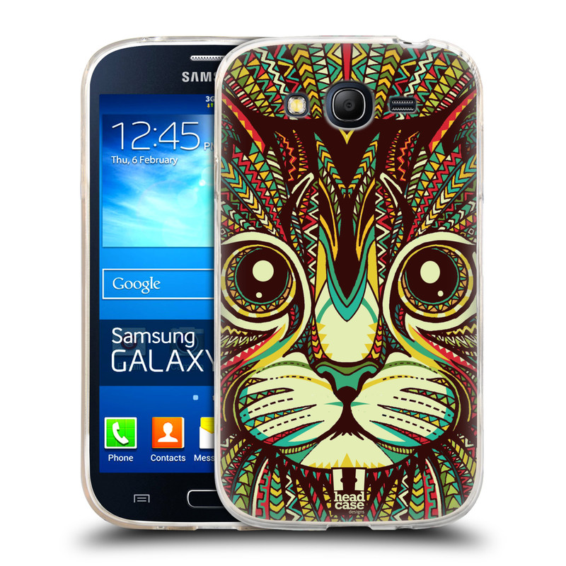 Silikonové pouzdro na mobil Samsung Galaxy Grand Neo HEAD CASE AZTEC KOČKA (Silikonový kryt či obal na mobilní telefon Samsung Galaxy Grand Neo GT-I9060)