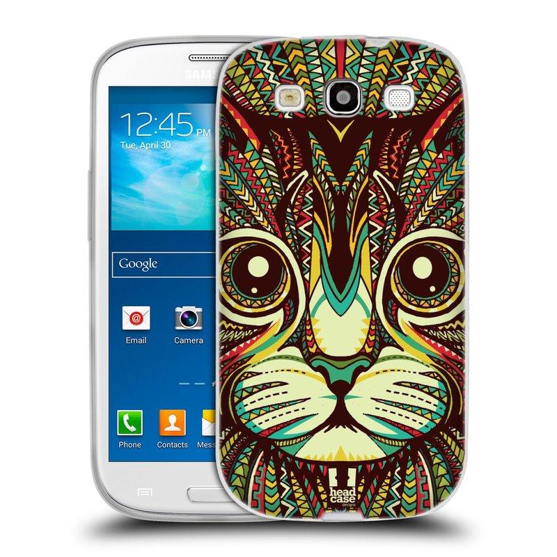 Silikonové pouzdro na mobil Samsung Galaxy S3 Neo HEAD CASE AZTEC KOČKA (Silikonový kryt či obal na mobilní telefon Samsung Galaxy S3 Neo GT-i9301i)