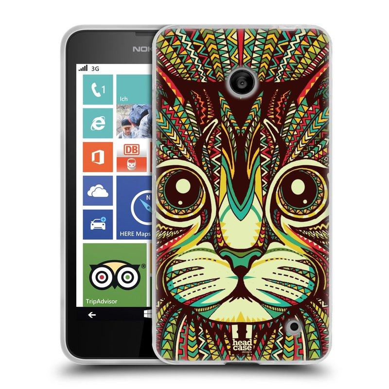 Silikonové pouzdro na mobil Nokia Lumia 630 HEAD CASE AZTEC KOČKA (Silikonový kryt či obal na mobilní telefon Nokia Lumia 630 a Nokia Lumia 630 Dual SIM)