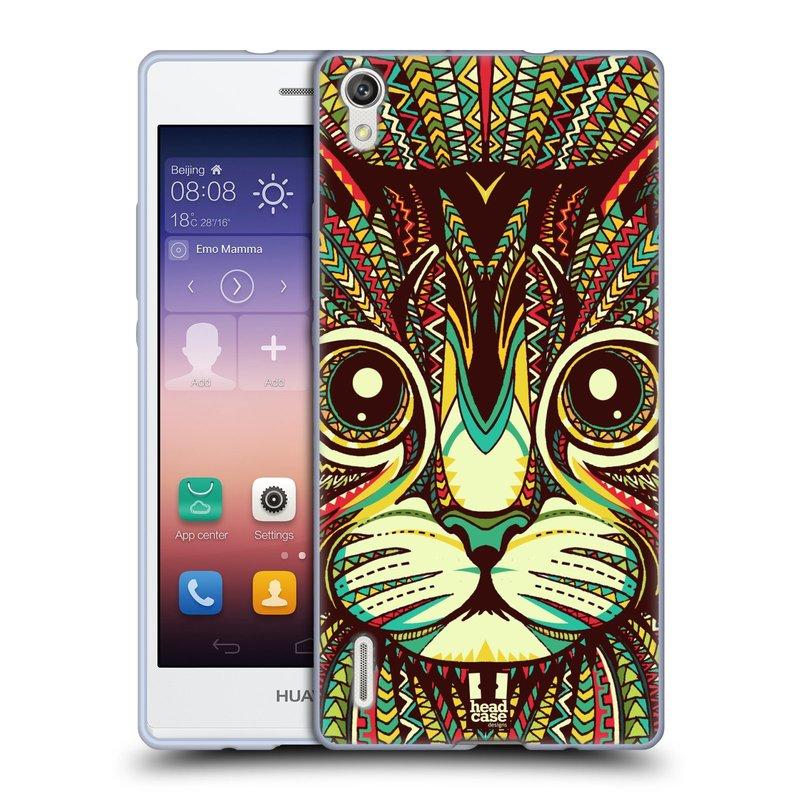 Silikonové pouzdro na mobil Huawei P7 HEAD CASE AZTEC KOČKA (Silikonový kryt či obal na mobilní telefon Huawei Ascend P7)