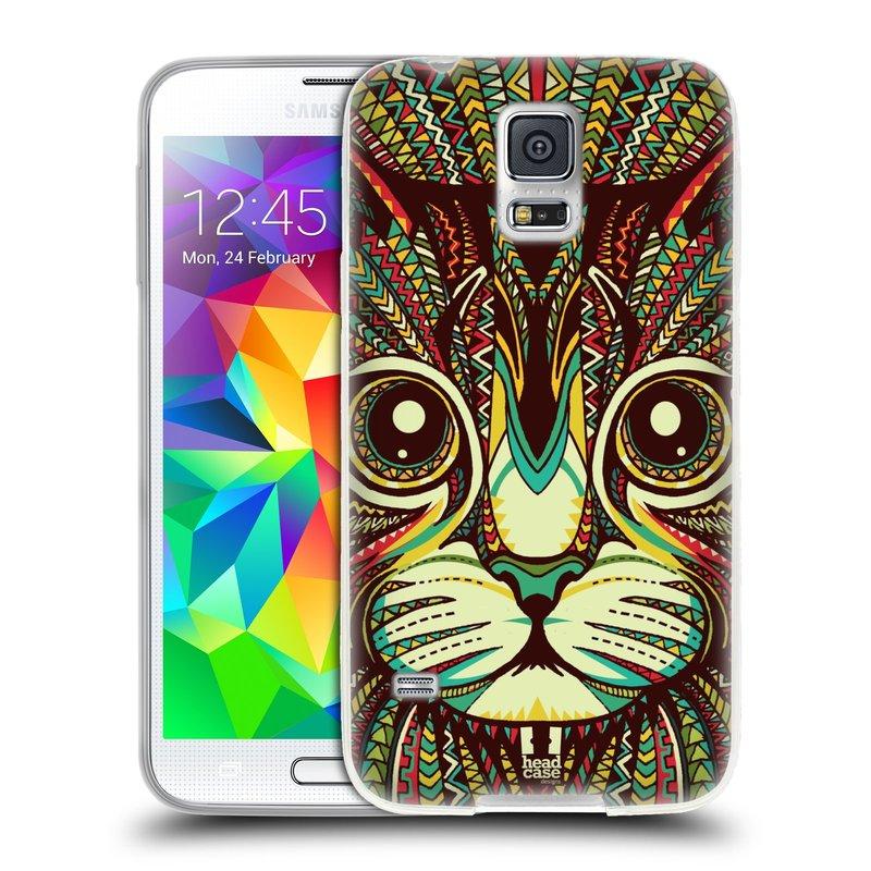 Silikonové pouzdro na mobil Samsung Galaxy S5 HEAD CASE AZTEC KOČKA (Silikonový kryt či obal na mobilní telefon Samsung Galaxy S5 SM-G900F)