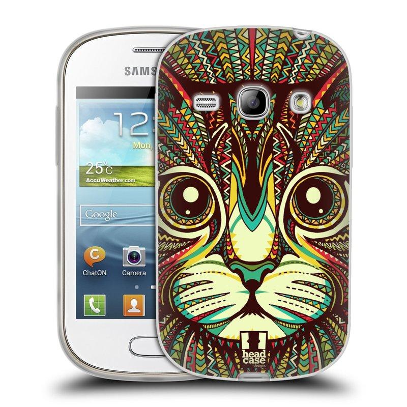 Silikonové pouzdro na mobil Samsung Galaxy Fame HEAD CASE AZTEC KOČKA (Silikonový kryt či obal na mobilní telefon Samsung Galaxy Fame GT-S6810)