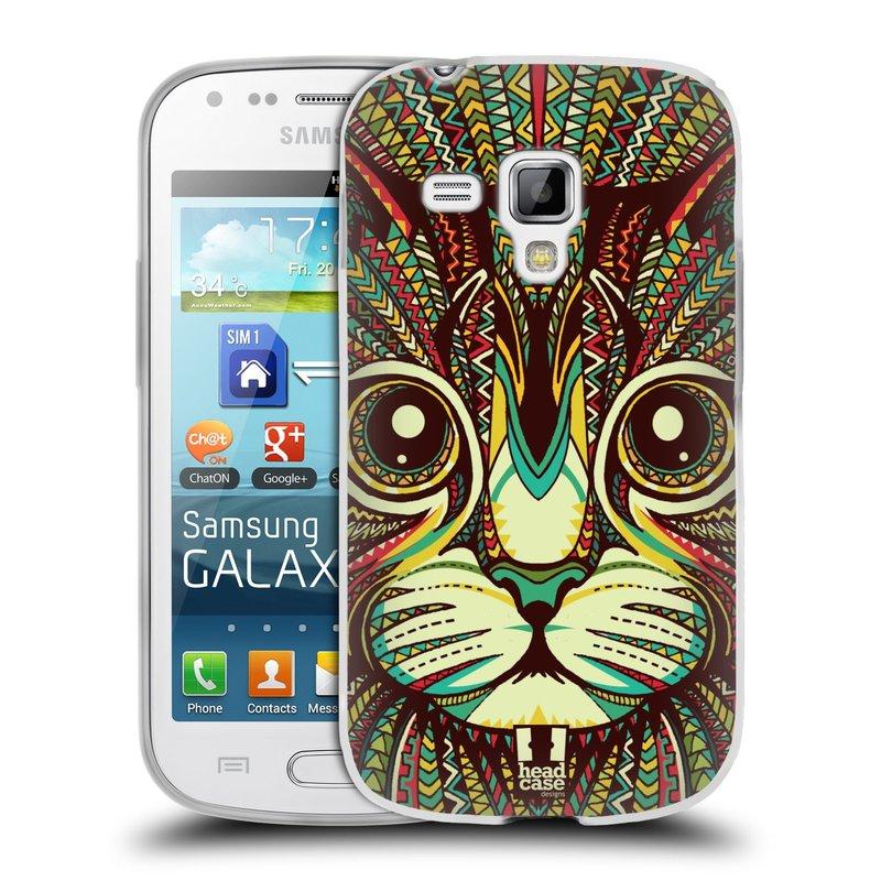 Silikonové pouzdro na mobil Samsung Galaxy S Duos 2 HEAD CASE AZTEC KOČKA (Silikonový kryt či obal na mobilní telefon Samsung Galaxy S Duos 2 GT-S7582)