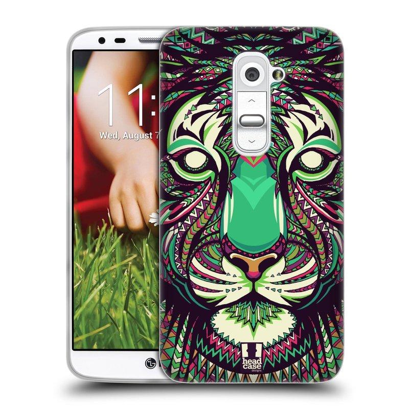 Silikonové pouzdro na mobil LG G2 HEAD CASE AZTEC TYGR (Silikonový kryt či obal na mobilní telefon LG G2 D802)