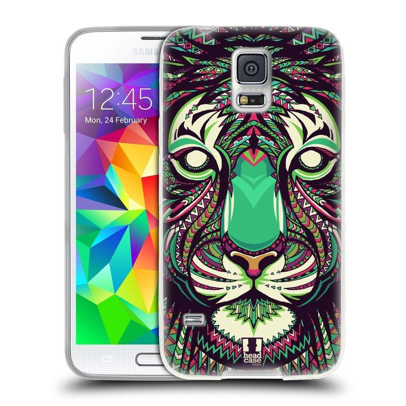 Silikonové pouzdro na mobil Samsung Galaxy S5 HEAD CASE AZTEC TYGR (Silikonový kryt či obal na mobilní telefon Samsung Galaxy S5 SM-G900F)