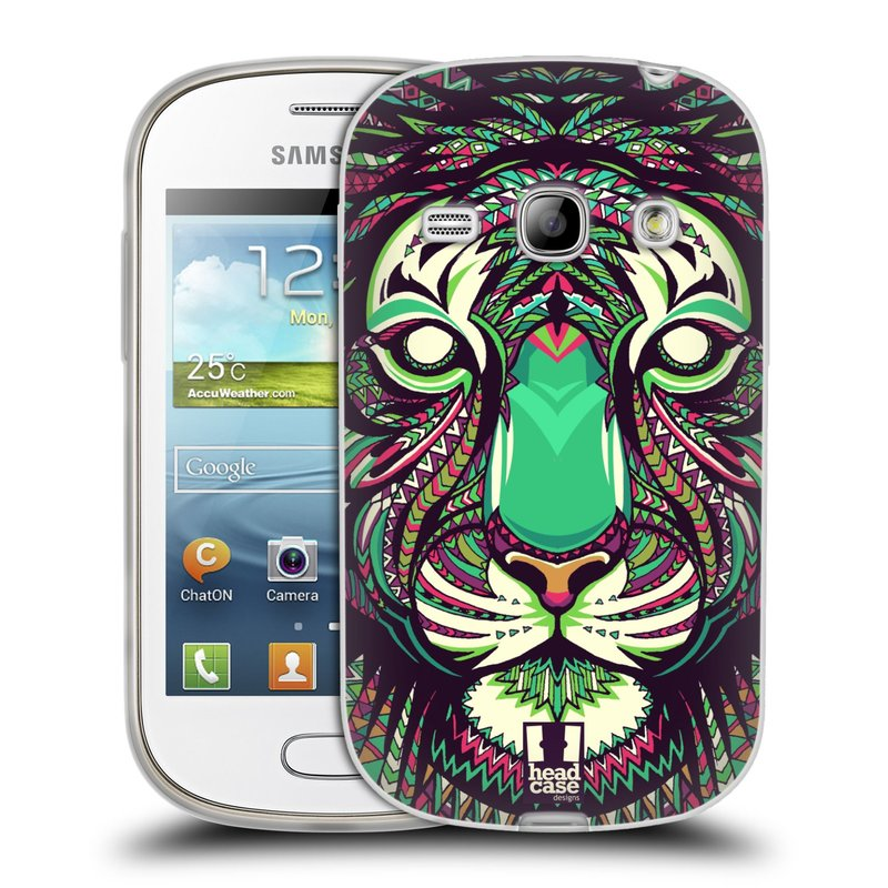 Silikonové pouzdro na mobil Samsung Galaxy Fame HEAD CASE AZTEC TYGR (Silikonový kryt či obal na mobilní telefon Samsung Galaxy Fame GT-S6810)