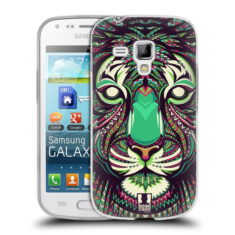 Silikonové pouzdro na mobil Samsung Galaxy Trend HEAD CASE AZTEC TYGR (Silikonový kryt či obal na mobilní telefon Samsung Galaxy Trend GT-S7560)