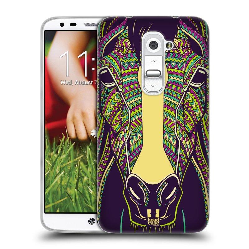 Silikonové pouzdro na mobil LG G2 HEAD CASE AZTEC KŮŇ (Silikonový kryt či obal na mobilní telefon LG G2 D802)