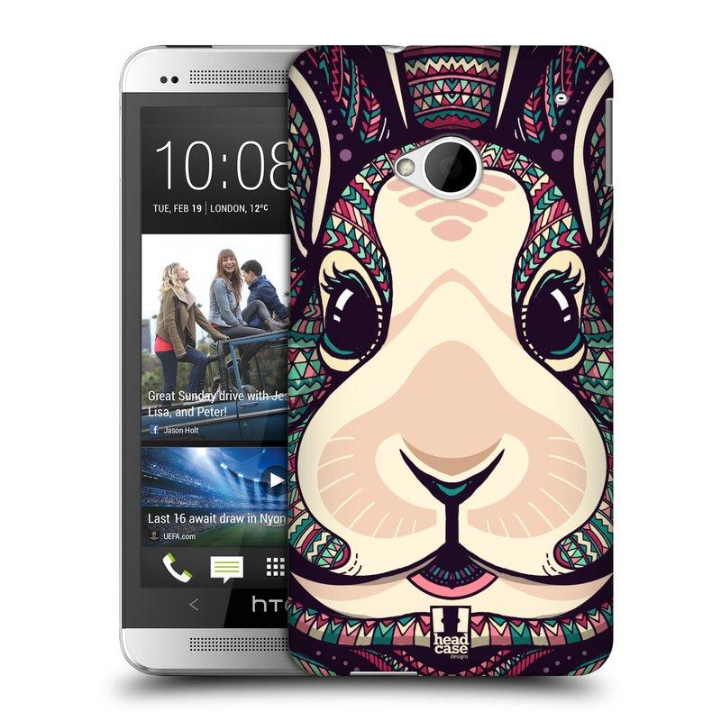 Plastové pouzdro na mobil HTC ONE M7 HEAD CASE AZTEC ZAJÍČEK (Kryt či obal na mobilní telefon HTC ONE M7)