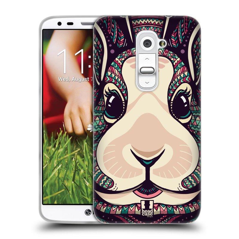 Silikonové pouzdro na mobil LG G2 HEAD CASE AZTEC ZAJÍČEK (Silikonový kryt či obal na mobilní telefon LG G2 D802)