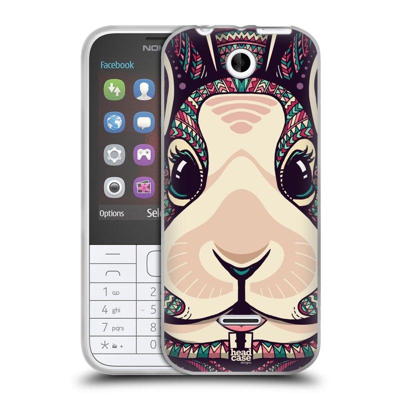 Silikonové pouzdro na mobil Nokia 225 HEAD CASE AZTEC ZAJÍČEK (Silikonový kryt či obal na mobilní telefon Nokia 225)