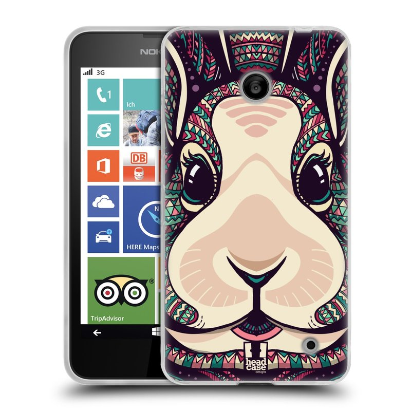 Silikonové pouzdro na mobil Nokia Lumia 630 HEAD CASE AZTEC ZAJÍČEK (Silikonový kryt či obal na mobilní telefon Nokia Lumia 630 a Nokia Lumia 630 Dual SIM)