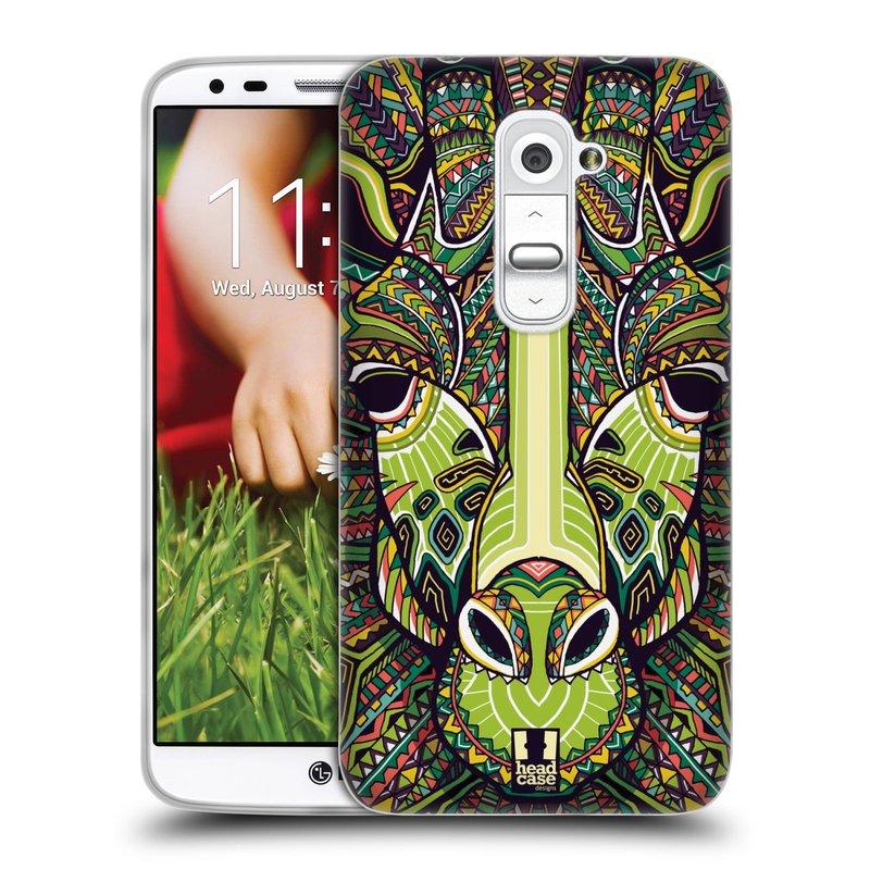 Silikonové pouzdro na mobil LG G2 HEAD CASE AZTEC ŽIRAFA (Silikonový kryt či obal na mobilní telefon LG G2 D802)