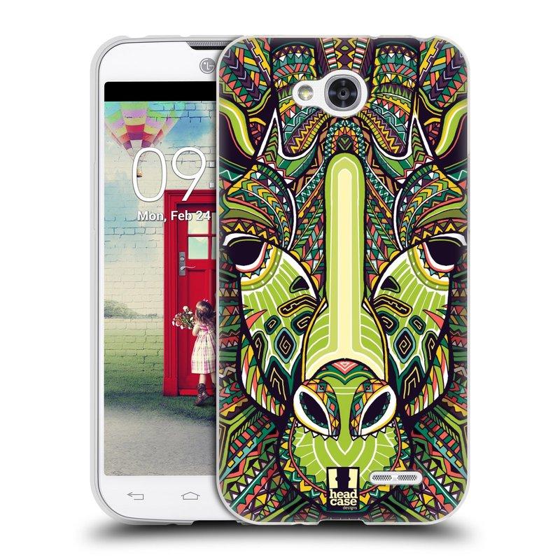 Silikonové pouzdro na mobil LG L90 HEAD CASE AZTEC ŽIRAFA (Silikonový kryt či obal na mobilní telefon LG L90 D405n)