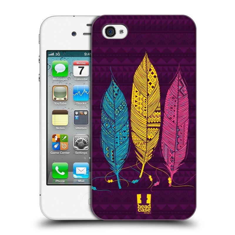 Plastové pouzdro na mobil Apple iPhone 4 a 4S HEAD CASE AZTEC PÍRKA 3 BAREV (Kryt či obal na mobilní telefon Apple iPhone 4 a 4S)