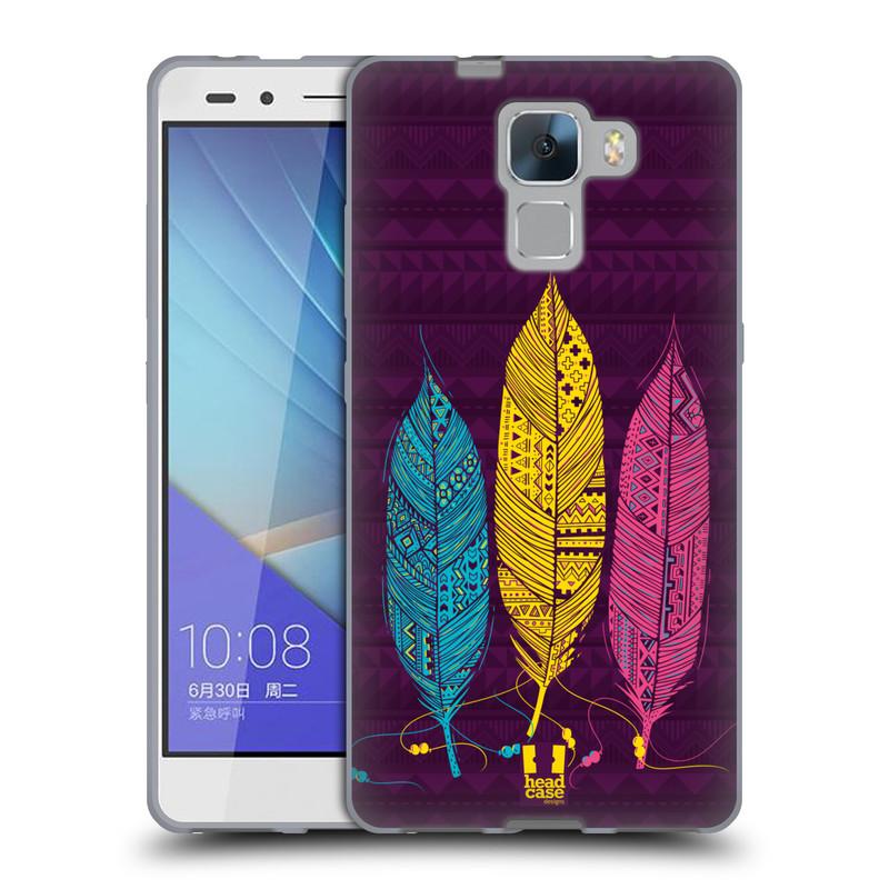 Silikonové pouzdro na mobil Honor 7 HEAD CASE AZTEC PÍRKA 3 BAREV (Silikonový kryt či obal na mobilní telefon Huawei Honor 7)