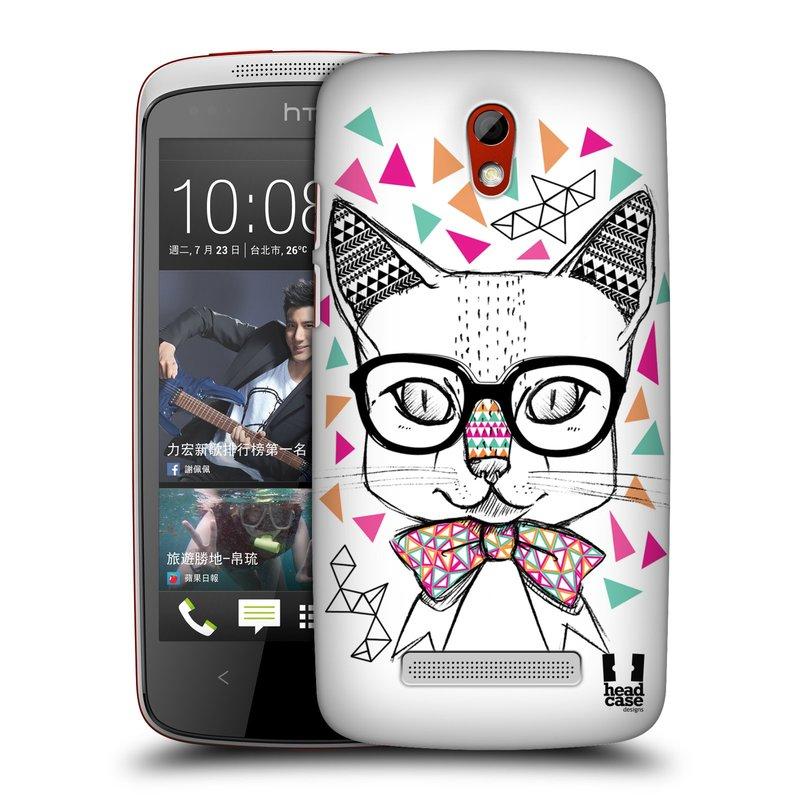 Plastové pouzdro na mobil HTC Desire 500 HEAD CASE AZTEC KOČIČKA (Kryt či obal na mobilní telefon HTC Desire 500)