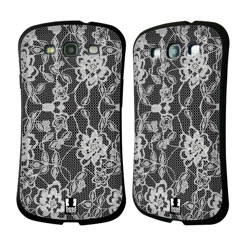 Nárazuvzdorné pouzdro na mobil Samsung Galaxy S III HEAD CASE FLOWERY KRAJKA (Odolný nárazuvzdorný silikonový kryt či obal na mobilní telefon Samsung Galaxy S III GT-i9300)