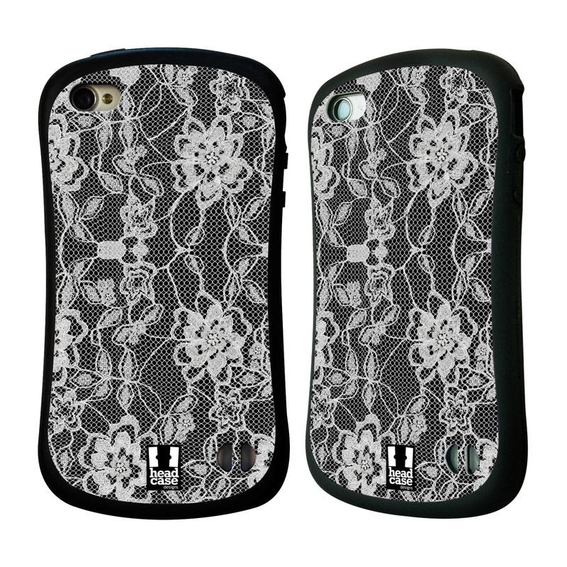 Nárazuvzdorné pouzdro na mobil Apple iPhone 4 a 4S HEAD CASE FLOWERY KRAJKA (Odolný nárazuvzdorný silikonový kryt či obal na mobilní telefon Apple iPhone 4 a 4S)