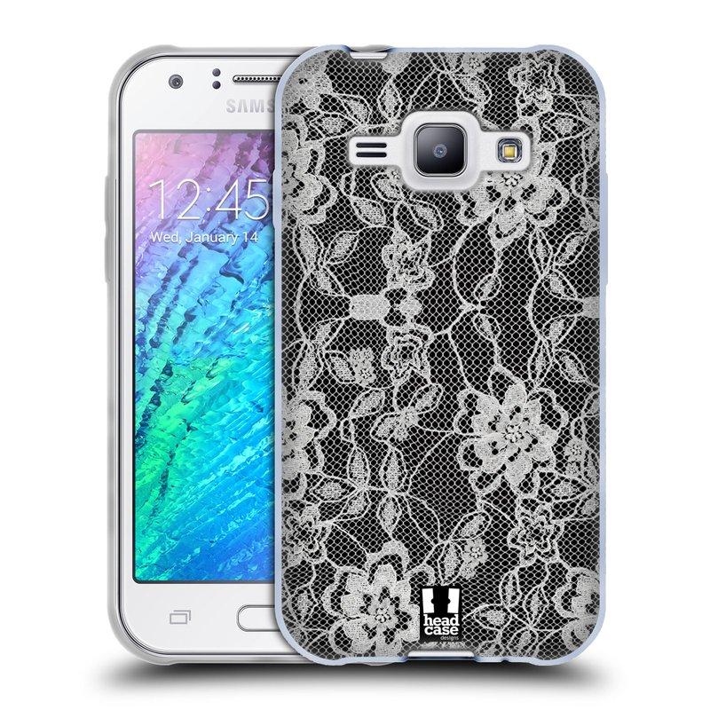 Silikonové pouzdro na mobil Samsung Galaxy J1 HEAD CASE FLOWERY KRAJKA (Silikonový kryt či obal na mobilní telefon Samsung Galaxy J1 a J1 Duos)