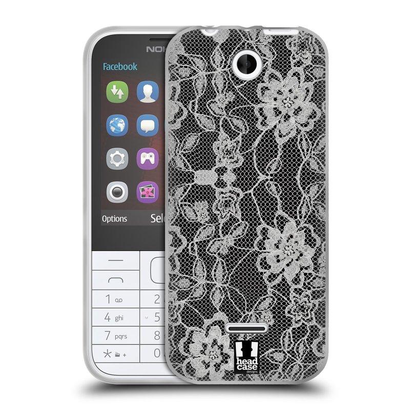 Silikonové pouzdro na mobil Nokia 225 HEAD CASE FLOWERY KRAJKA (Silikonový kryt či obal na mobilní telefon Nokia 225)