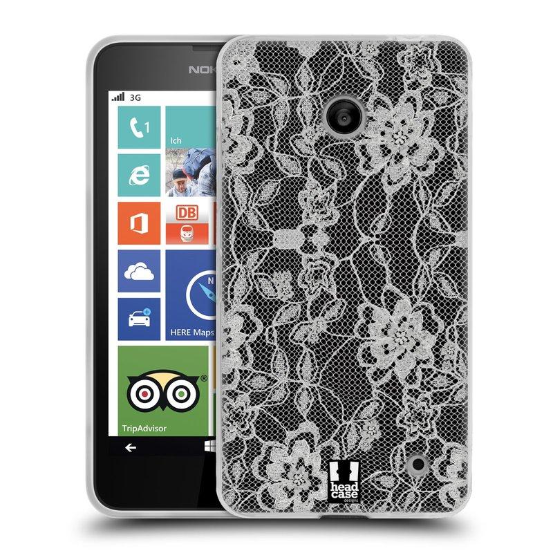 Silikonové pouzdro na mobil Nokia Lumia 630 HEAD CASE FLOWERY KRAJKA (Silikonový kryt či obal na mobilní telefon Nokia Lumia 630 a Nokia Lumia 630 Dual SIM)