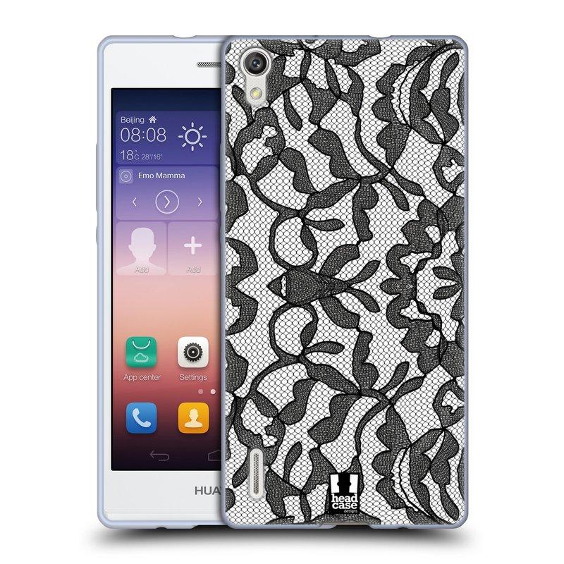 Silikonové pouzdro na mobil Huawei P7 HEAD CASE LEAFY KRAJKA (Silikonový kryt či obal na mobilní telefon Huawei Ascend P7)
