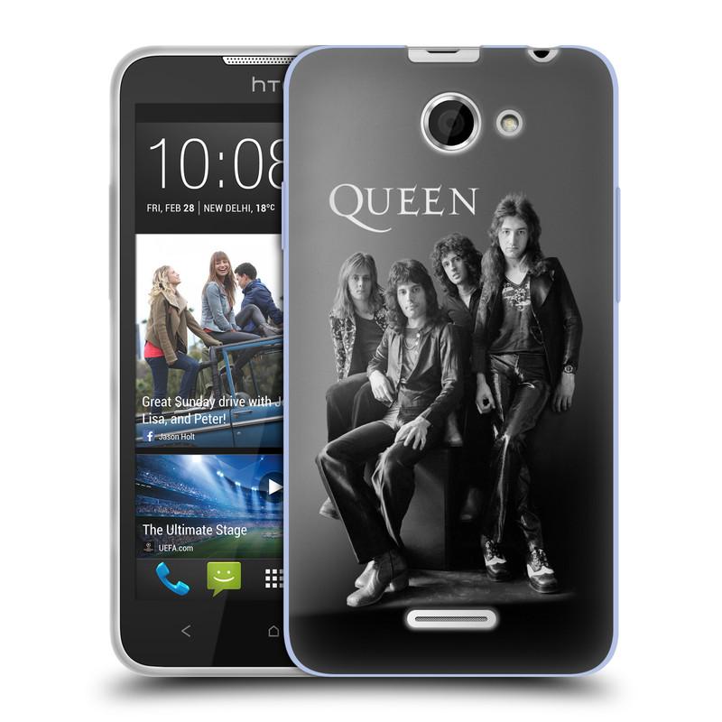 Silikonové pouzdro na mobil HTC Desire 516 HEAD CASE Queen - Skupina (Silikonový kryt či obal na mobilní telefon licencovaným motivem Queen pro HTC Desire 516 Dual SIM)