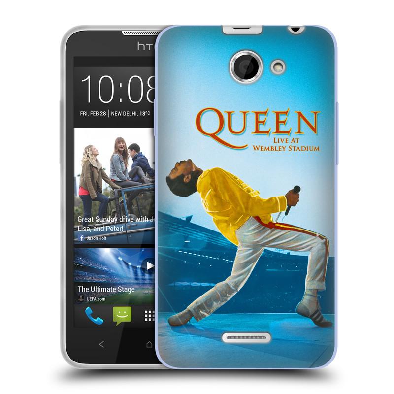 Silikonové pouzdro na mobil HTC Desire 516 HEAD CASE Queen - Freddie Mercury (Silikonový kryt či obal na mobilní telefon licencovaným motivem Queen pro HTC Desire 516 Dual SIM)
