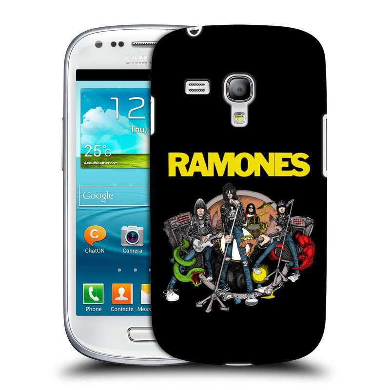 Silikonové pouzdro na mobil Samsung Galaxy S III Mini VE HEAD CASE The Ramones - ILUSTRACE KAPELY (Plastový kryt či obal na mobilní telefon s oficiálním licencovaným motivem The Ramones pro Samsung Galaxy S3 Mini VE GT-i8200)