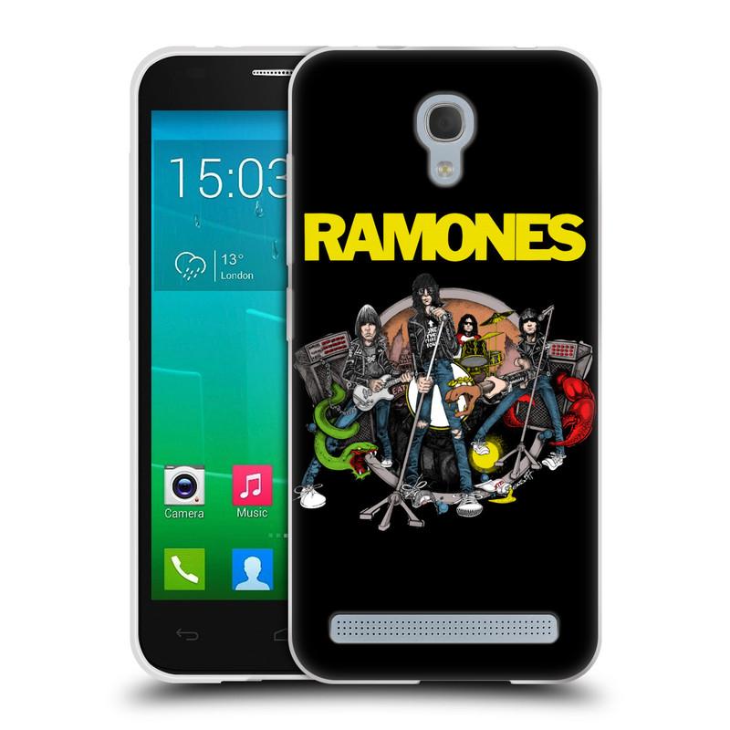 Silikonové pouzdro na mobil Alcatel One Touch Idol 2 Mini S 6036Y HEAD CASE The Ramones - ILUSTRACE KAPELY (Silikonový kryt či obal na mobilní telefon s oficiálním licencovaným motivem The Ramones pro Alcatel Idol 2 Mini S OT-6036Y)