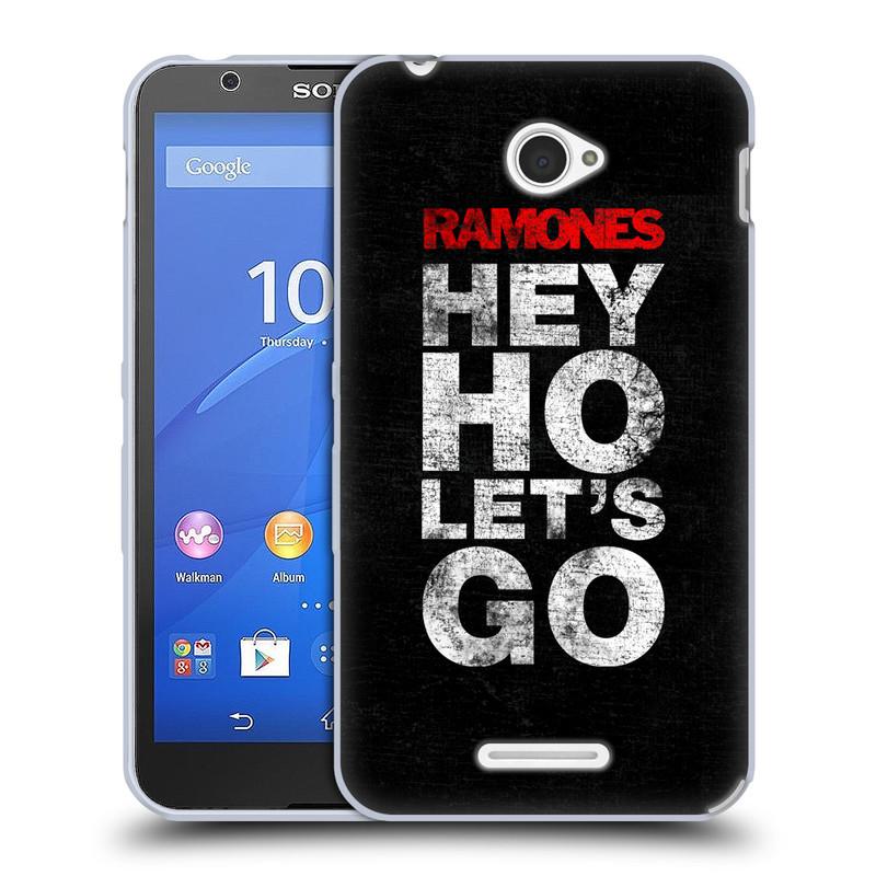 Silikonové pouzdro na mobil Sony Xperia E4 E2105 HEAD CASE The Ramones - HEY HO LET´S GO (Silikonový kryt či obal na mobilní telefon s oficiálním licencovaným motivem The Ramones pro Sony Xperia E4 a E4 Dual SIM)