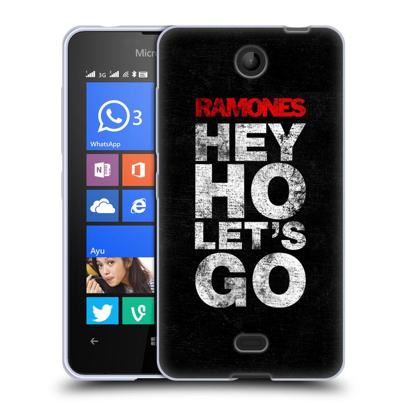 Silikonové pouzdro na mobil Microsoft Lumia 430 HEAD CASE The Ramones - HEY HO LET´S GO (Silikonový kryt či obal na mobilní telefon s oficiálním licencovaným motivem The Ramones pro Microsoft Lumia 430 a Microsoft Lumia 430 Dual SIM)