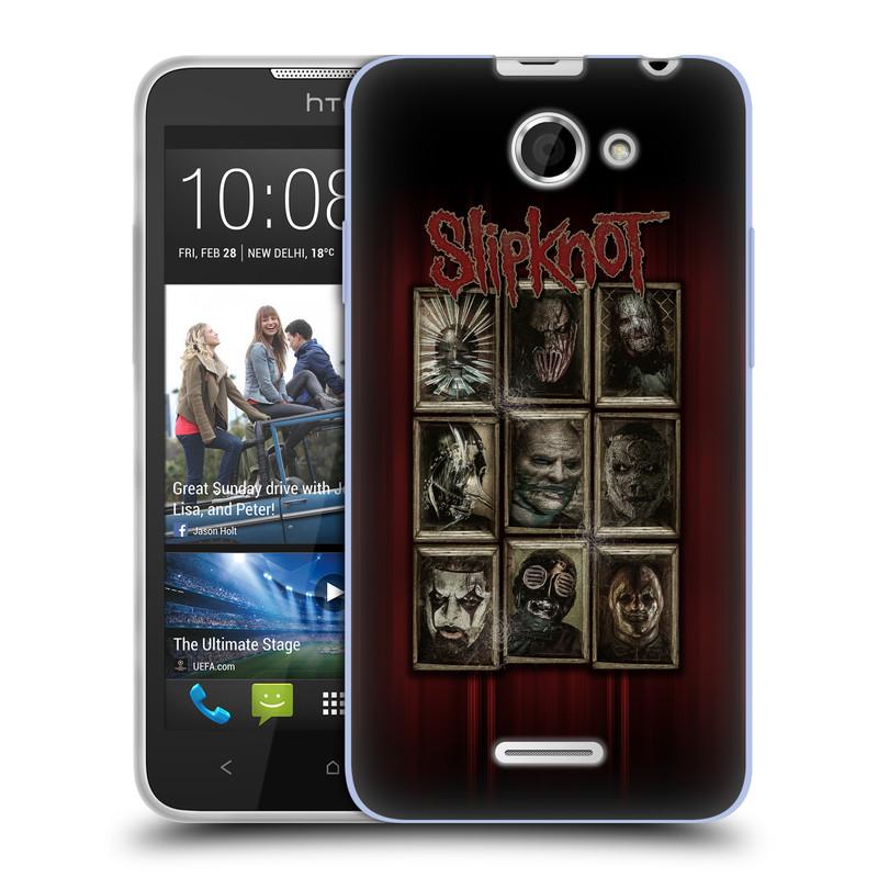 Silikonové pouzdro na mobil HTC Desire 516 HEAD CASE Slipknot - Masky (Silikonový kryt či obal na mobilní telefon licencovaným motivem Slipknot pro HTC Desire 516 Dual SIM)