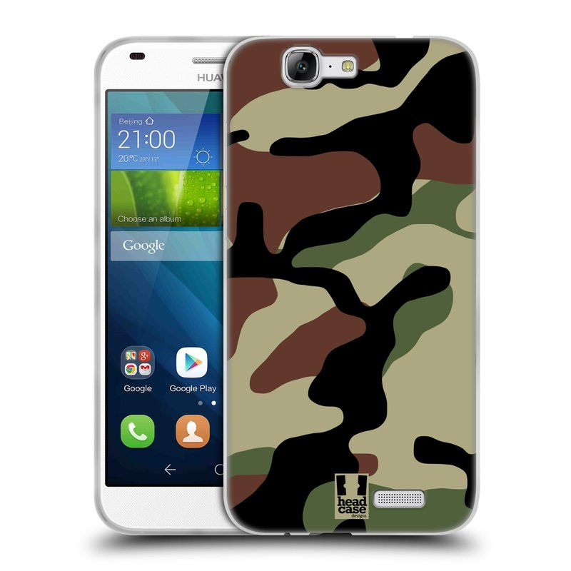 Silikonové pouzdro na mobil Huawei Ascend G7 HEAD CASE Maskáče (Silikonový kryt či obal na mobilní telefon Huawei Ascend G7)