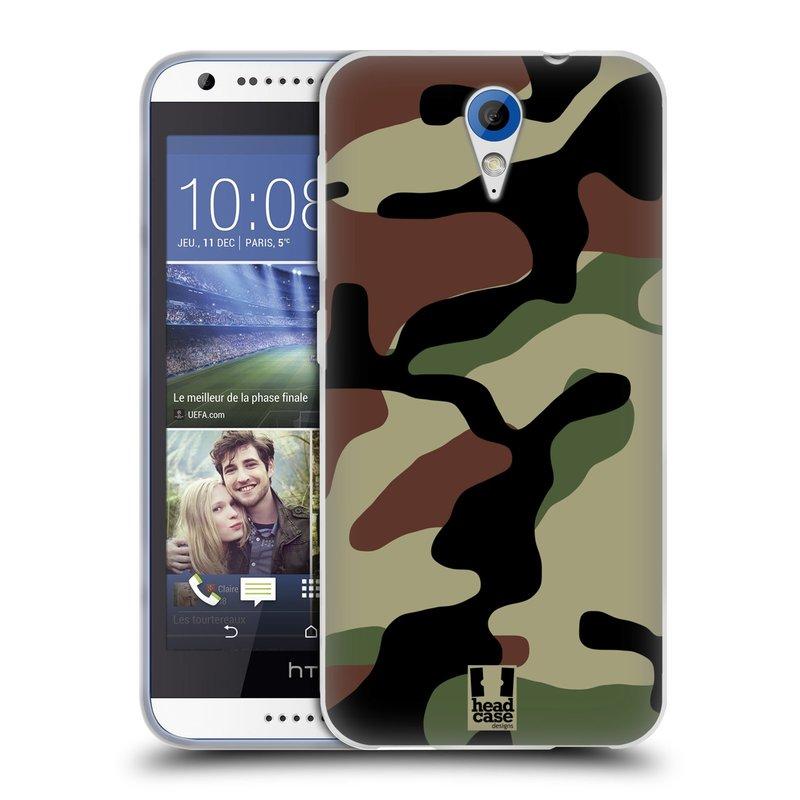 Silikonové pouzdro na mobil HTC Desire 620 HEAD CASE Maskáče (Silikonový kryt či obal na mobilní telefon HTC Desire 620)