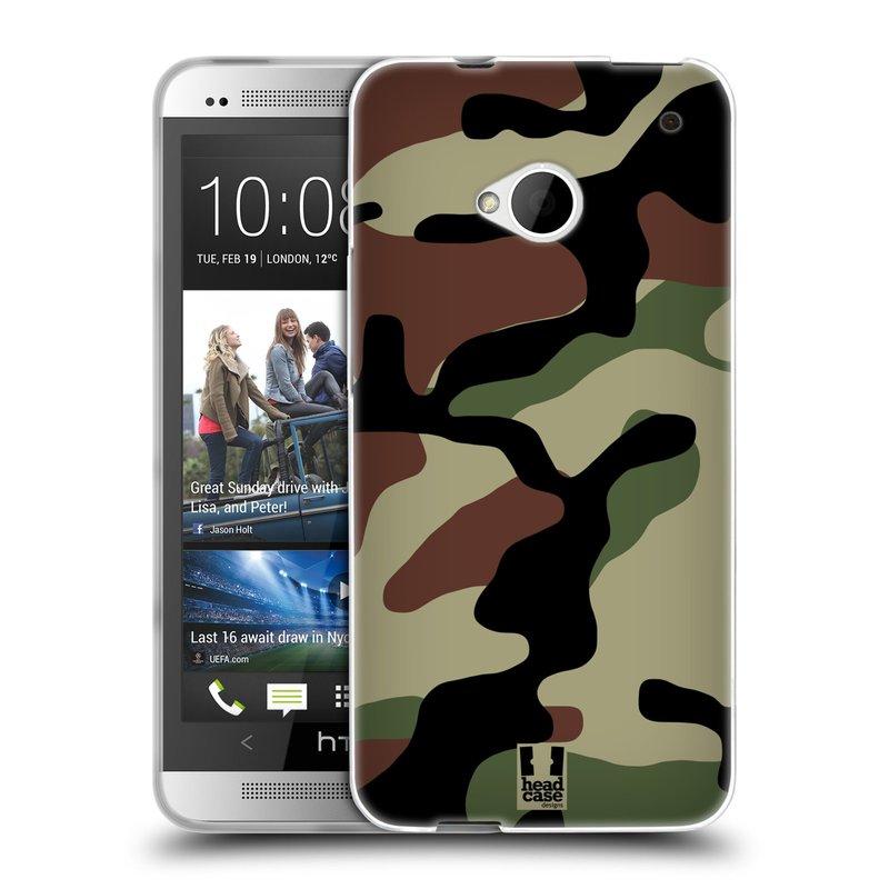 Silikonové pouzdro na mobil HTC ONE M7 HEAD CASE Maskáče (Silikonový kryt či obal na mobilní telefon HTC ONE M7)