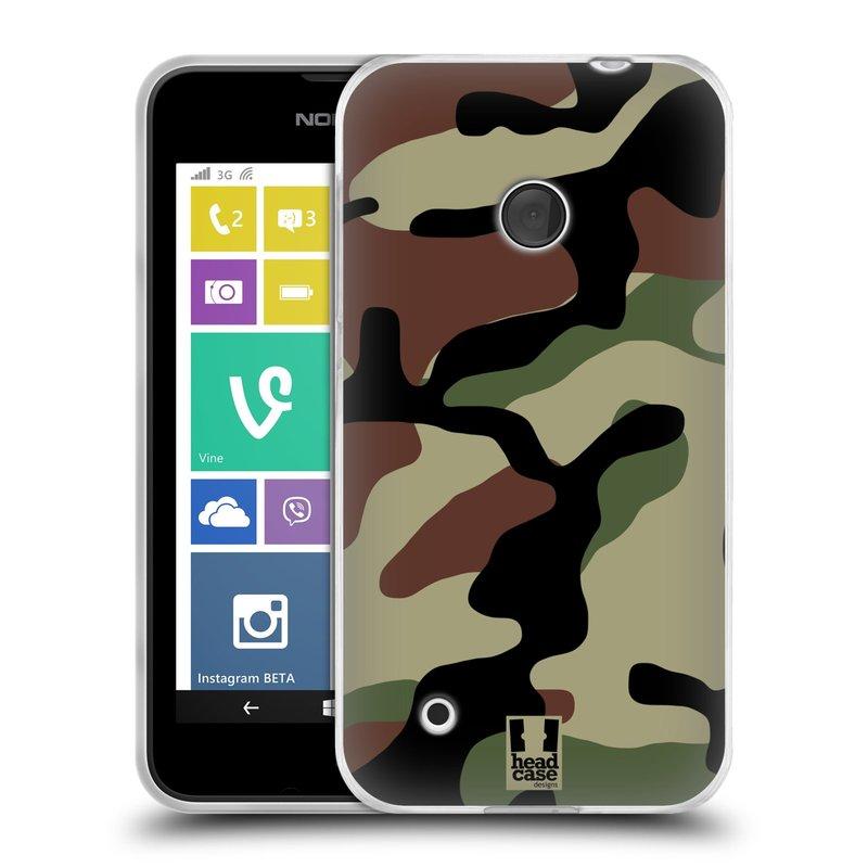 Silikonové pouzdro na mobil Nokia Lumia 530 HEAD CASE Maskáče (Silikonový kryt či obal na mobilní telefon Nokia Lumia 530)