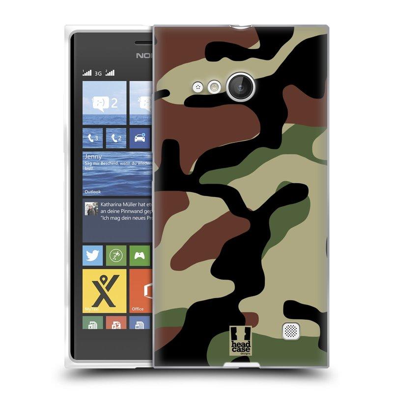 Silikonové pouzdro na mobil Nokia Lumia 735 HEAD CASE Maskáče (Silikonový kryt či obal na mobilní telefon Nokia Lumia 735)
