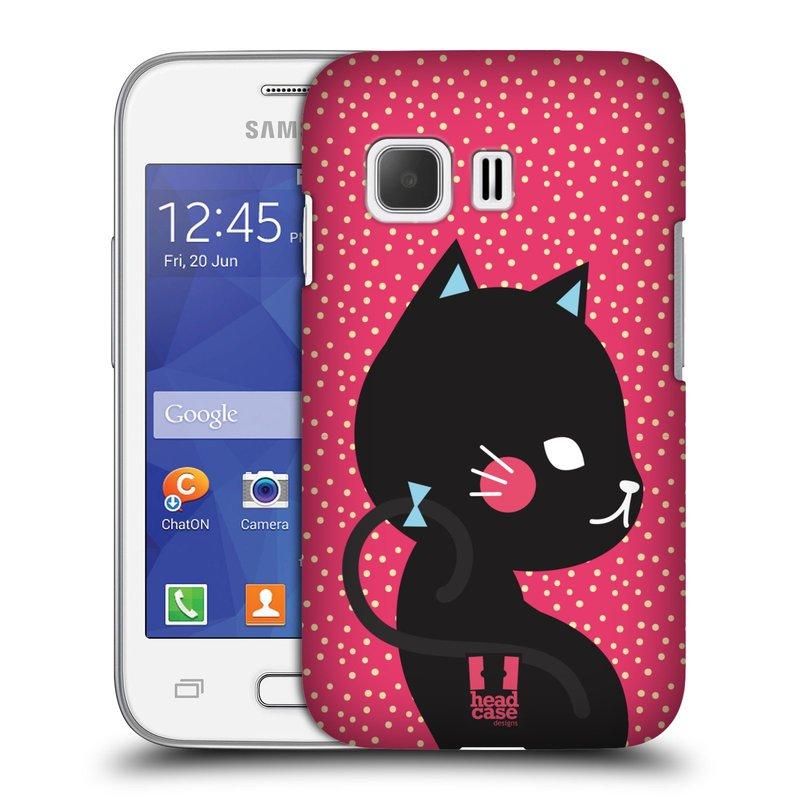 Plastové pouzdro na mobil Samsung Galaxy Young 2 HEAD CASE KOČIČKA ČERNÁ NA RŮŽOVÉ (Kryt či obal na mobilní telefon Samsung Galaxy Young 2 SM-G130)