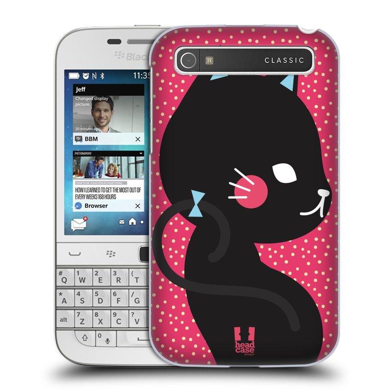 Plastové pouzdro na mobil Blackberry Classic HEAD CASE KOČIČKA ČERNÁ NA RŮŽOVÉ (Kryt či obal na mobilní telefon Blackberry Classic)