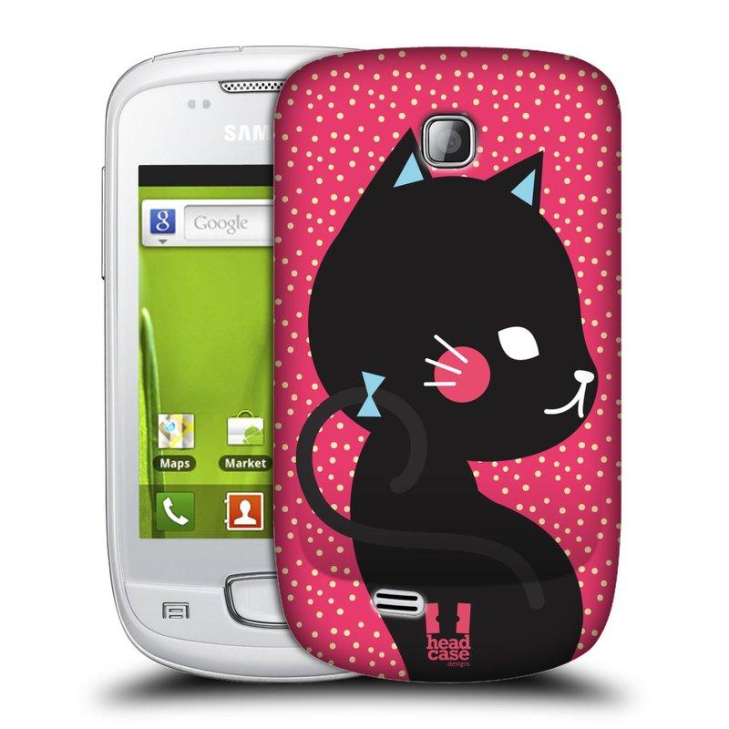 Plastové pouzdro na mobil Samsung Galaxy Mini HEAD CASE KOČIČKA ČERNÁ NA RŮŽOVÉ (Kryt či obal na mobilní telefon Samsung Galaxy Mini GT-S5570 / GT-S5570i)