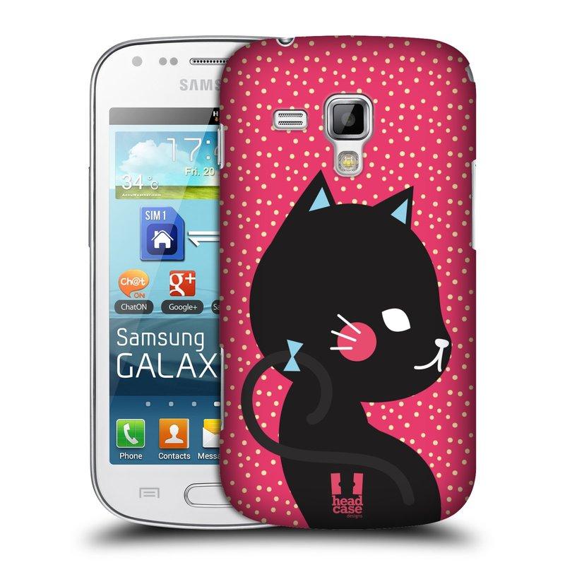 Plastové pouzdro na mobil Samsung Galaxy Trend Plus HEAD CASE KOČIČKA ČERNÁ NA RŮŽOVÉ (Kryt či obal na mobilní telefon Samsung Galaxy Trend Plus GT-S7580)